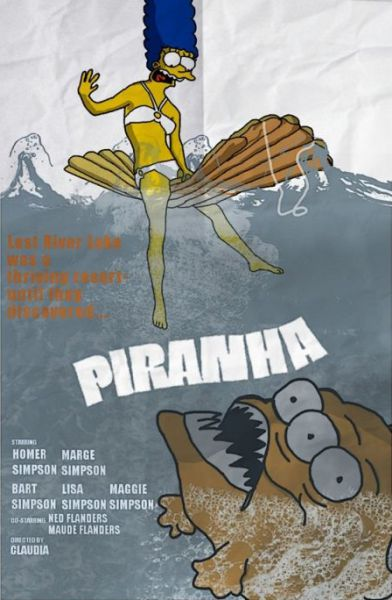 Simpsons Characters in Movie Posters Piranha