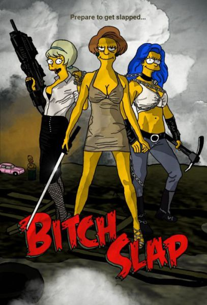 Simpsons Characters in Movie Posters Bitch Slap