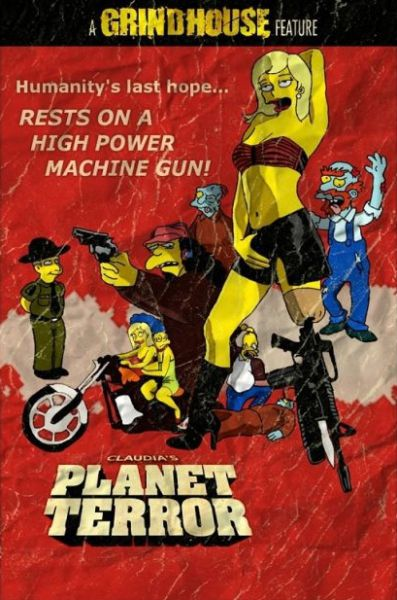 Simpsons Characters in Movie Posters Planet Terror