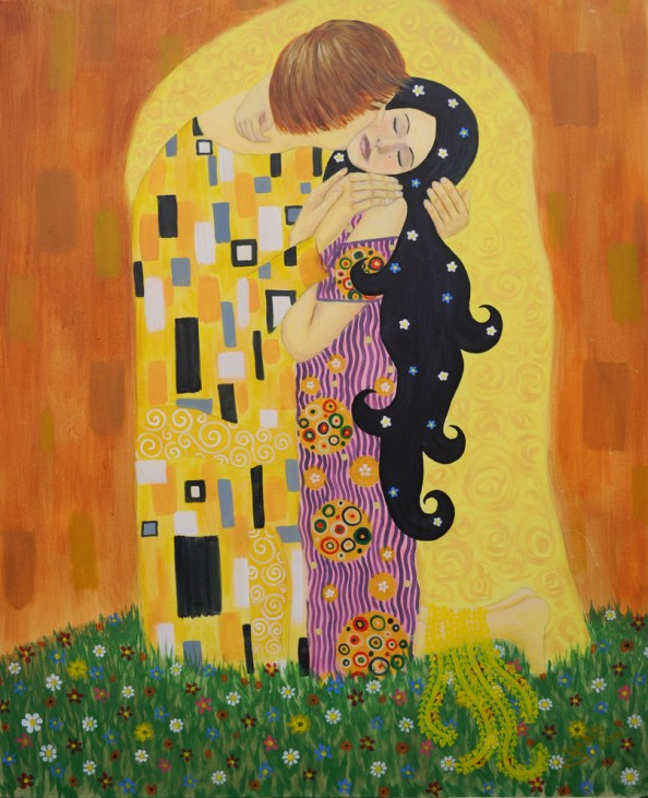 Gustav Klimt inspired art - The Kiss reinterpretation 10