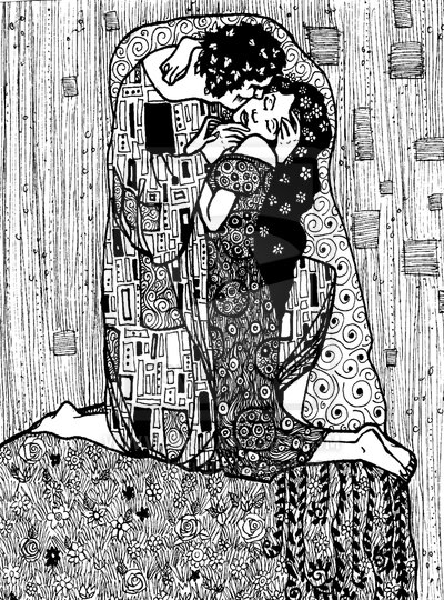 Gustav Klimt inspired art - The Kiss reinterpretation 7