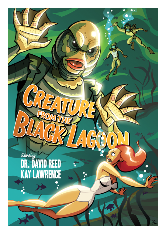 Inkjava Cartoon Style Movie Posters - Creatures from the Black Lagoon