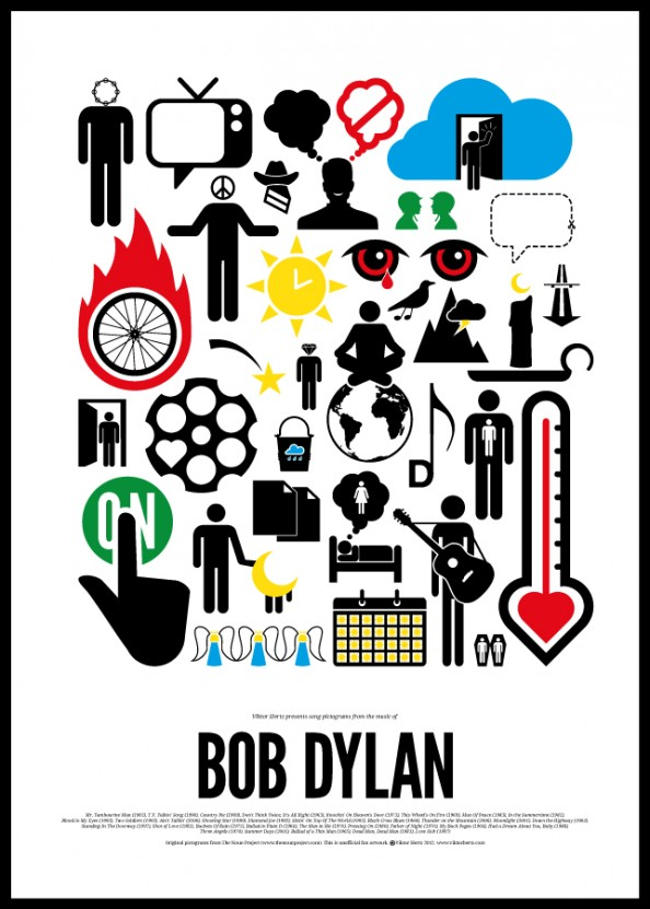 Victor Hertz Pictogram Rock Music Posters - Bob Dylan