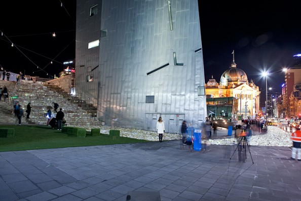 Literature vs traffic in Federation Square, Melbourne, by Luzinterruptus 8