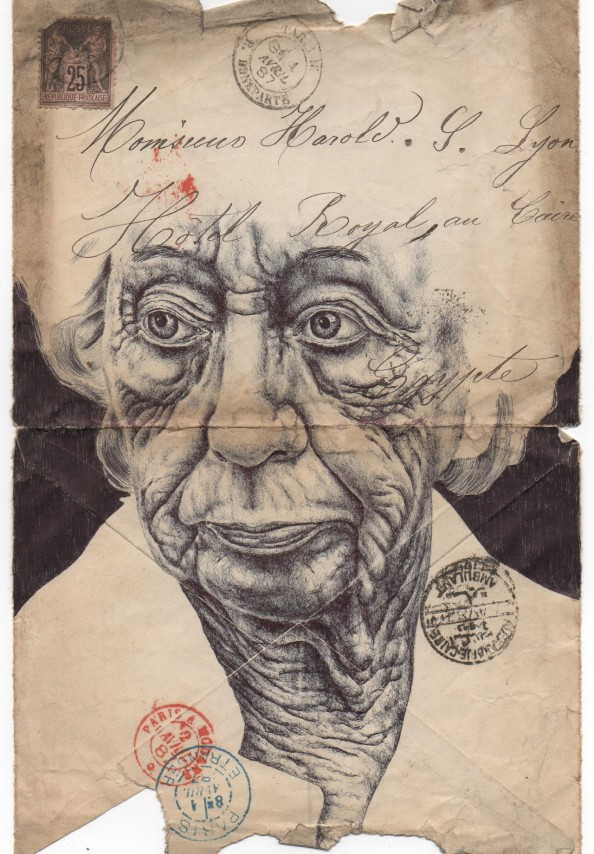 Mark Powell Biro Pen Drawings on Antique Envelopes 1