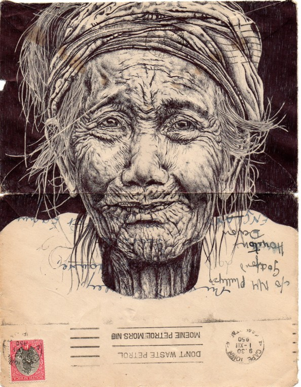 Mark Powell Biro Pen Drawings on Antique Envelopes 6