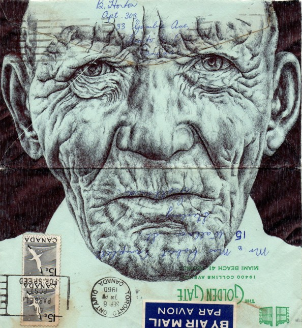 Mark Powell Biro Pen Drawings on Antique Envelopes 8