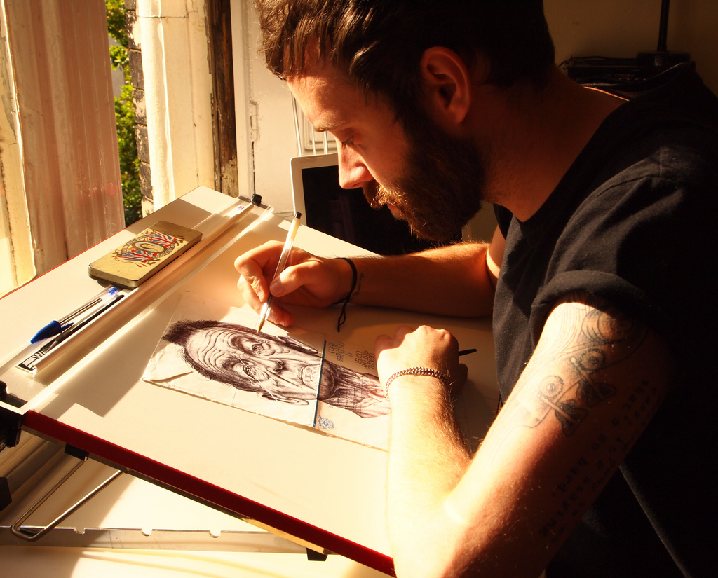 mark powell s biro pen drawings on antique envelopes interview