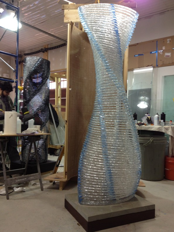 Henry Richardson Sculpture Blue Orb Twisting Column