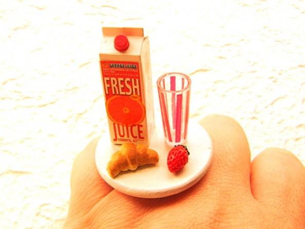 Food rings Souzou Creations Orange Juice Croissant Strawberry Ring