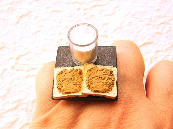 Food rings Souzou Creations Peanut Butter Bread And Milk Ring Perfect Breakfast