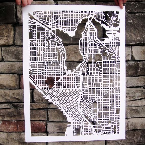 Cut-out Street Map Of Seattle
