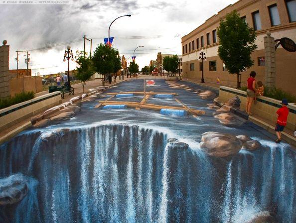 The Waterfall Painting Edgar Muller