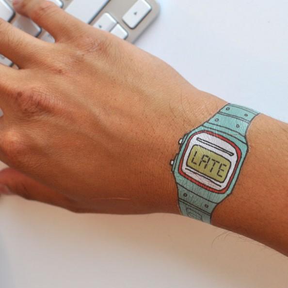 temporary tatoo late watch hand wrist