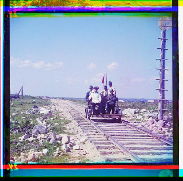 100 Years Old Color Photos of the Russian Empire Handcar on the Murmansk Railway
