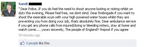 Viral Facebook Message London Riots