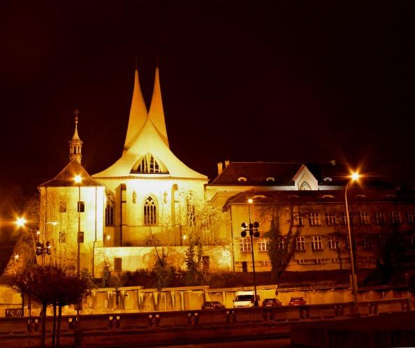 Emauzy Monastery in Prague at Night