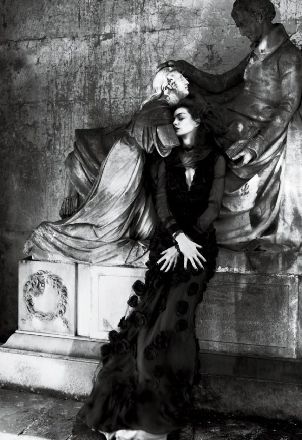 Gothic Anne Hathaway Interview Magazine Wearing Dolce & Gabbana Dress and Tom Ford Belt
