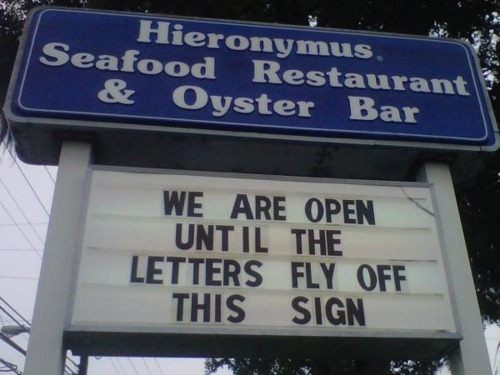 Hurricane Irene Seafood Restaurant Funny Sign