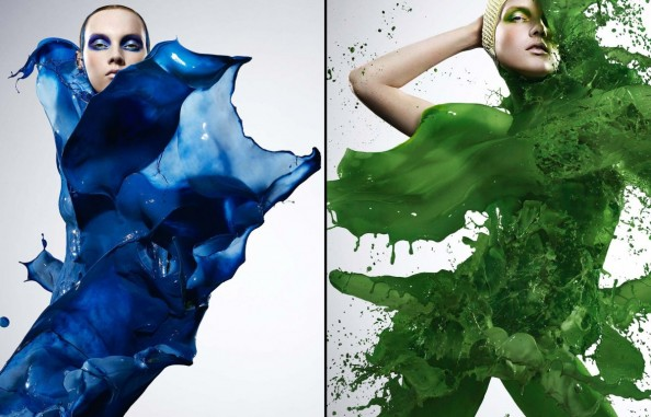 Blue and Green Paint Explosion High Speed Photography