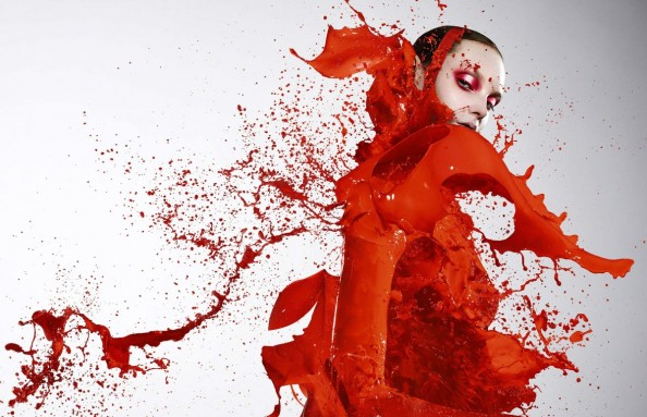 Plaza Paint Red Explosion High Speed Photography