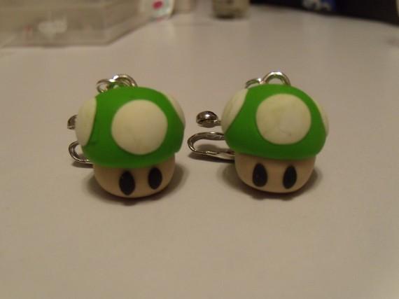 Super Mario One Up Mushrooms Earrings