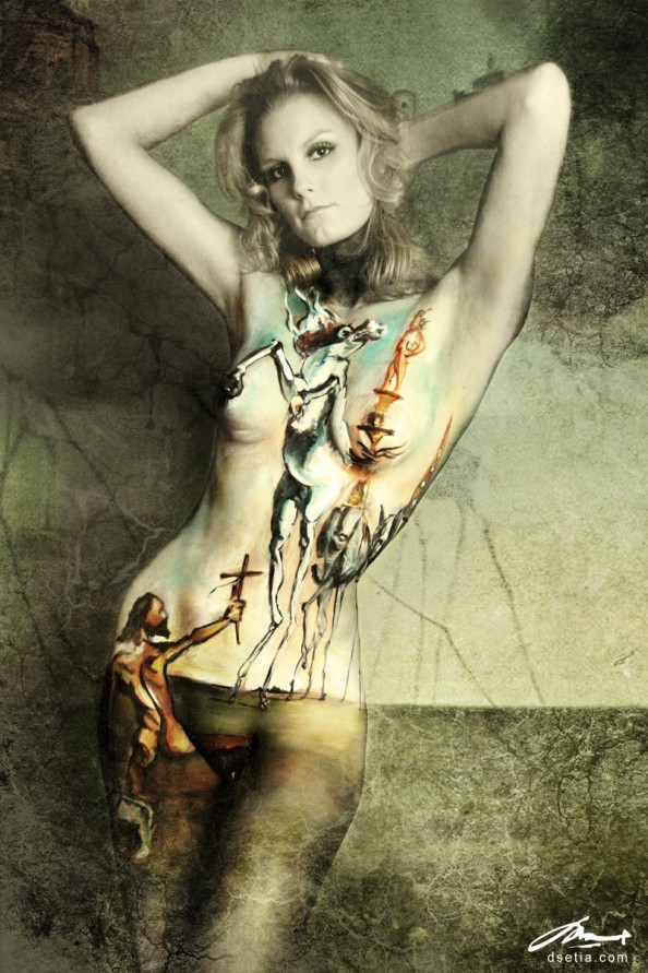 Temptation of St. Anthony by Dali Body Painting by Danny Setiawan