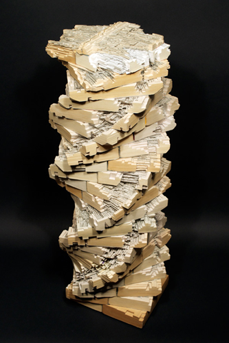 Tower of Babble Book Sculpture by Brian Dettmer