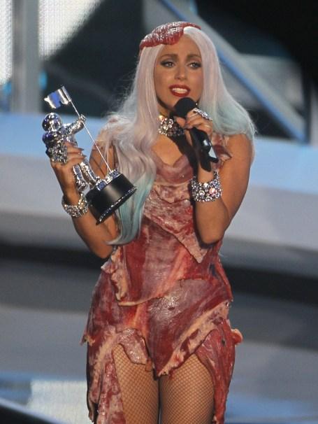 Lady Gaga raw meet dress 2010