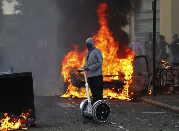 London Looter on Segway Photoshop Spoof