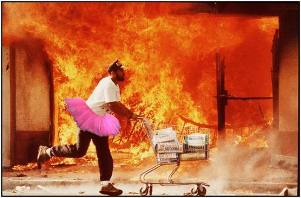 London Looter in Pink Ballerina Tutu Photoshop Spoof