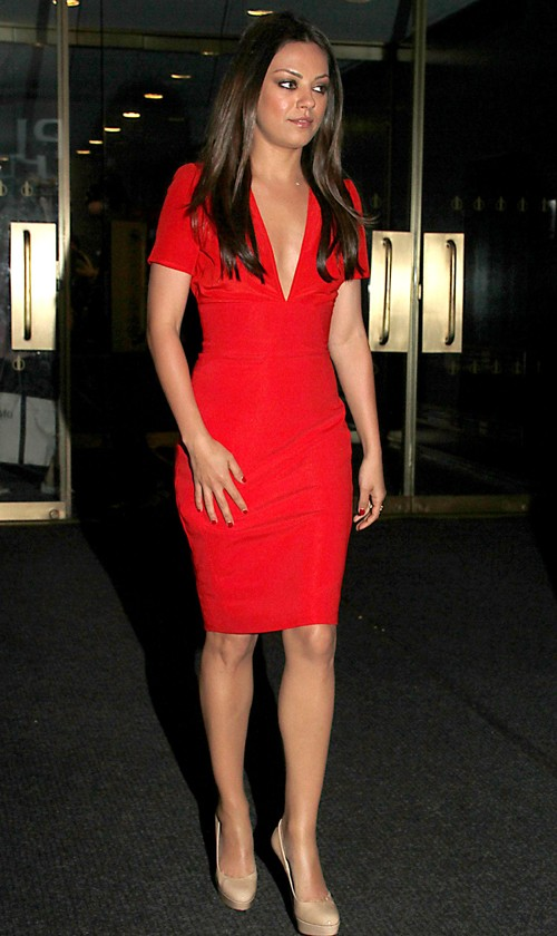 Mila Kunis Wearing Versace Dress and Jimmy Choo Pumps at The Today Show
