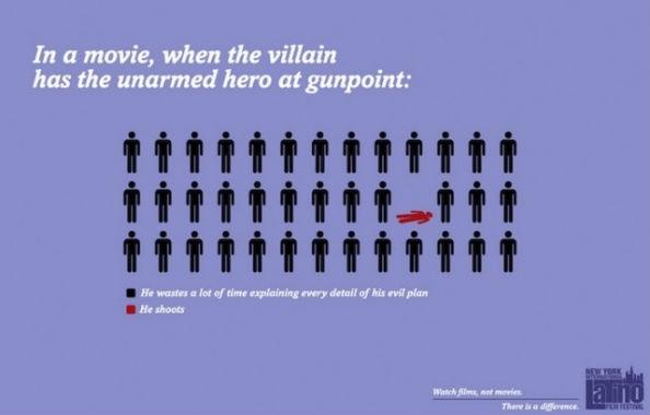 Movie Cliche Villain Has Hero at Gunpoint