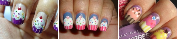 Inspired by cupcakes - cupcakes nail art