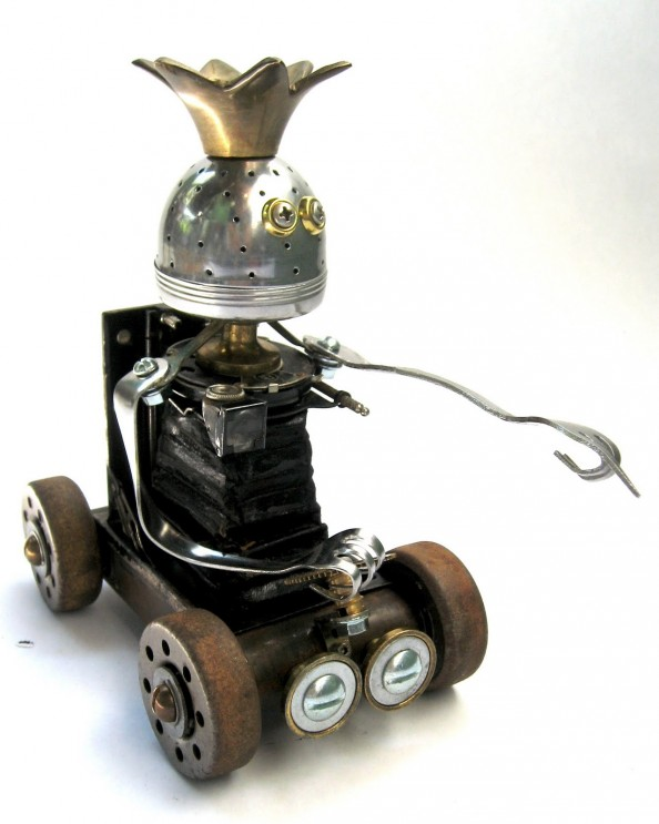 Dak - 5 Found Object Robot Assemblage Sculpture By Brian Marshall