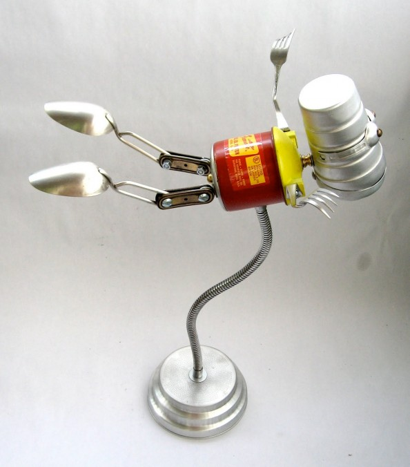 Firomatic 518 - 2 Found Object Flying Robot Assemblage Sclupture By Brian Marshall