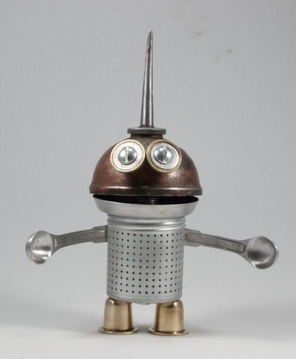 Gundar - 3 Found Object Robot Assemblage Sculpture By Brian Marshall