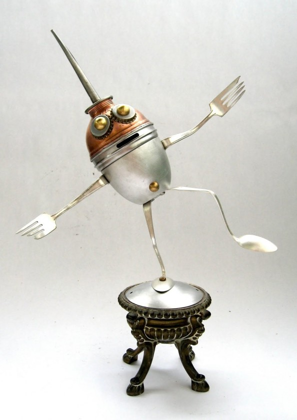 Klootz - Found Object Robot Assemblage Sculpture By Brian Marshall