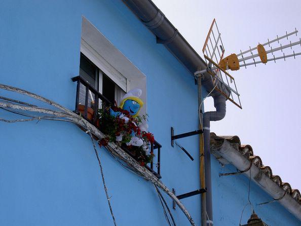 Window Decorated With Smurfs Juzcar Pueblo Pitufo