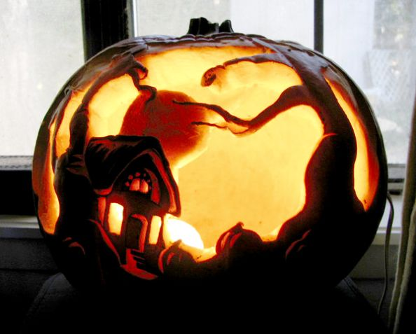 Forest Cottage Pumpkin Carving by MasterpieceLost