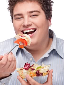Men Laughing Alone With Salad chubby