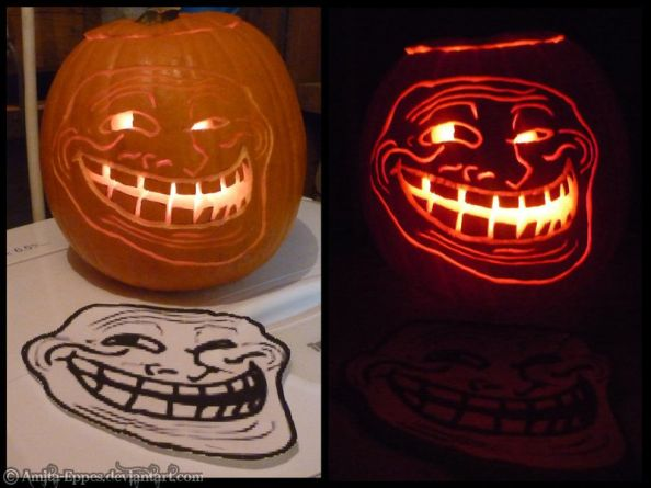 Troll Face Halloween Pumpkin by amita eppes