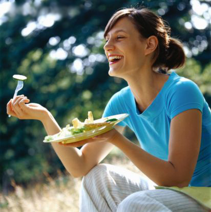 Women Laughing Alone With Salad park