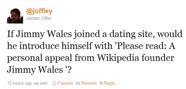 Jimmy Wales On a Dating Site