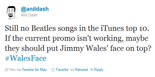 Jimmy Wales face on the Beatles