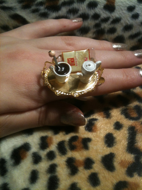 Coffee Time Miniature Ring