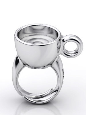 Silver Coffee Cup Ring