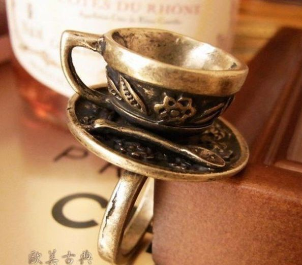 Vintage Retro Style Coffe Cup Rings