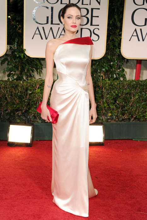 Angelina Jolie in Versace Golden Globes 2012