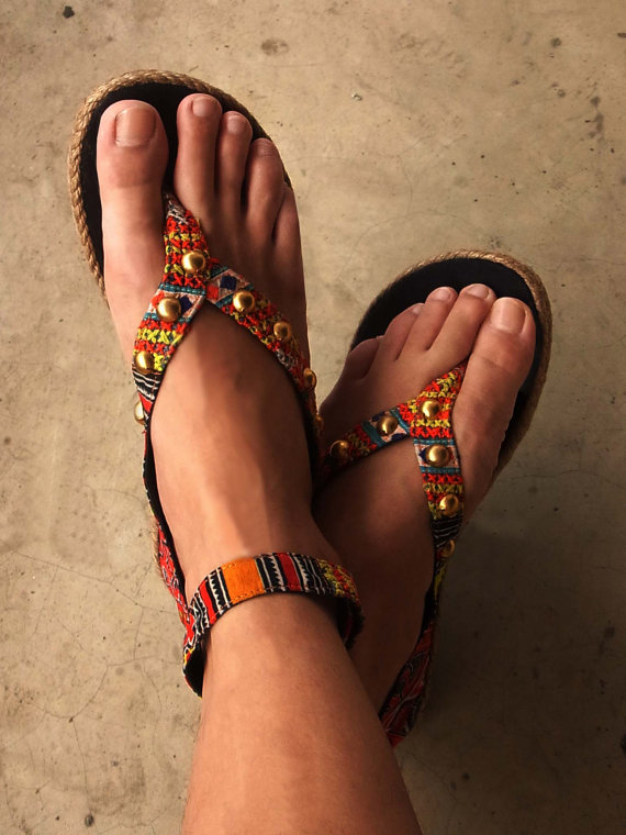 Bohemian beaded sandals fashion trend 2012